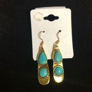 Gold & Turquoise Earrings NWT